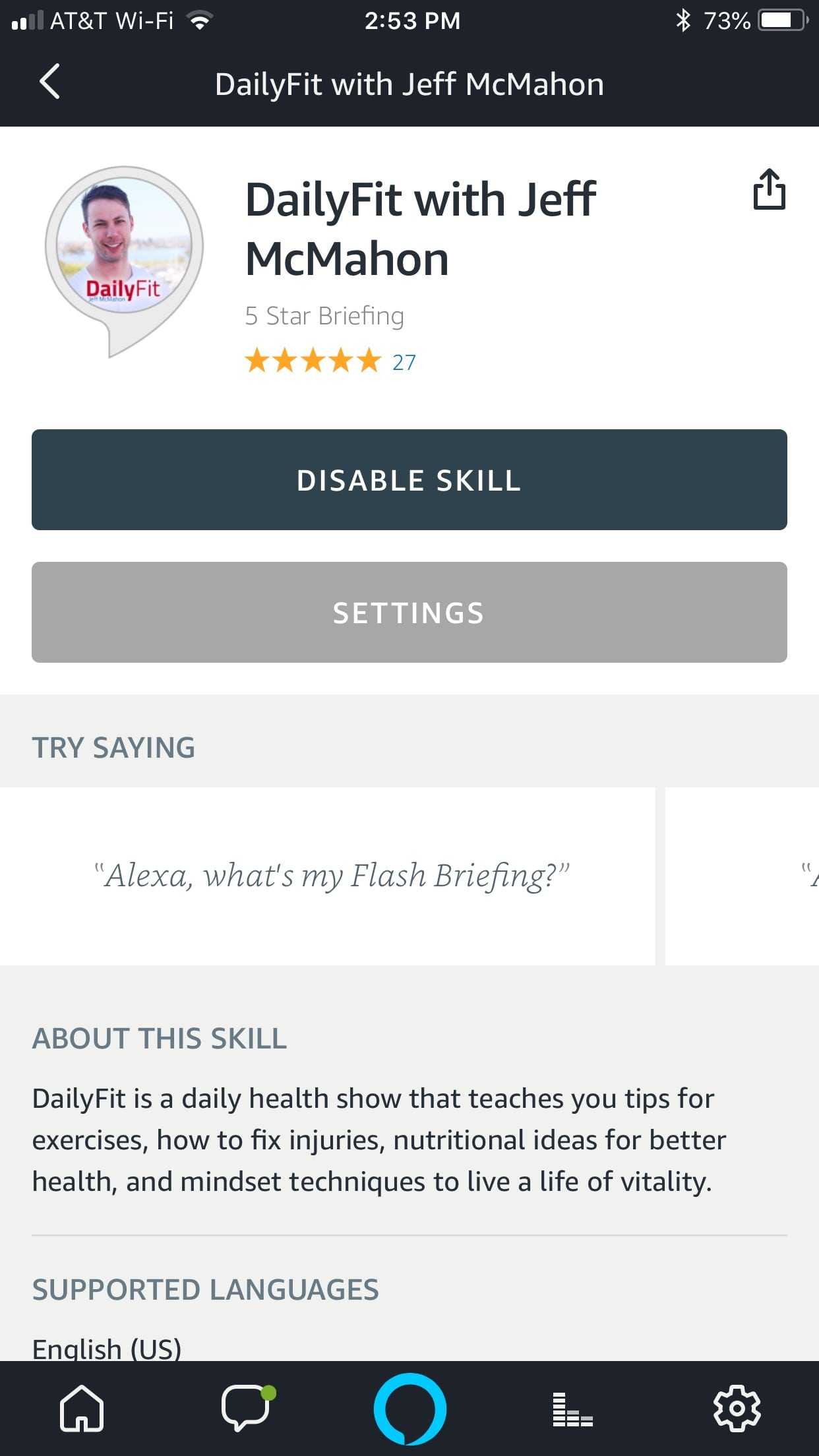 DailyFit Alexa Flash Briefing