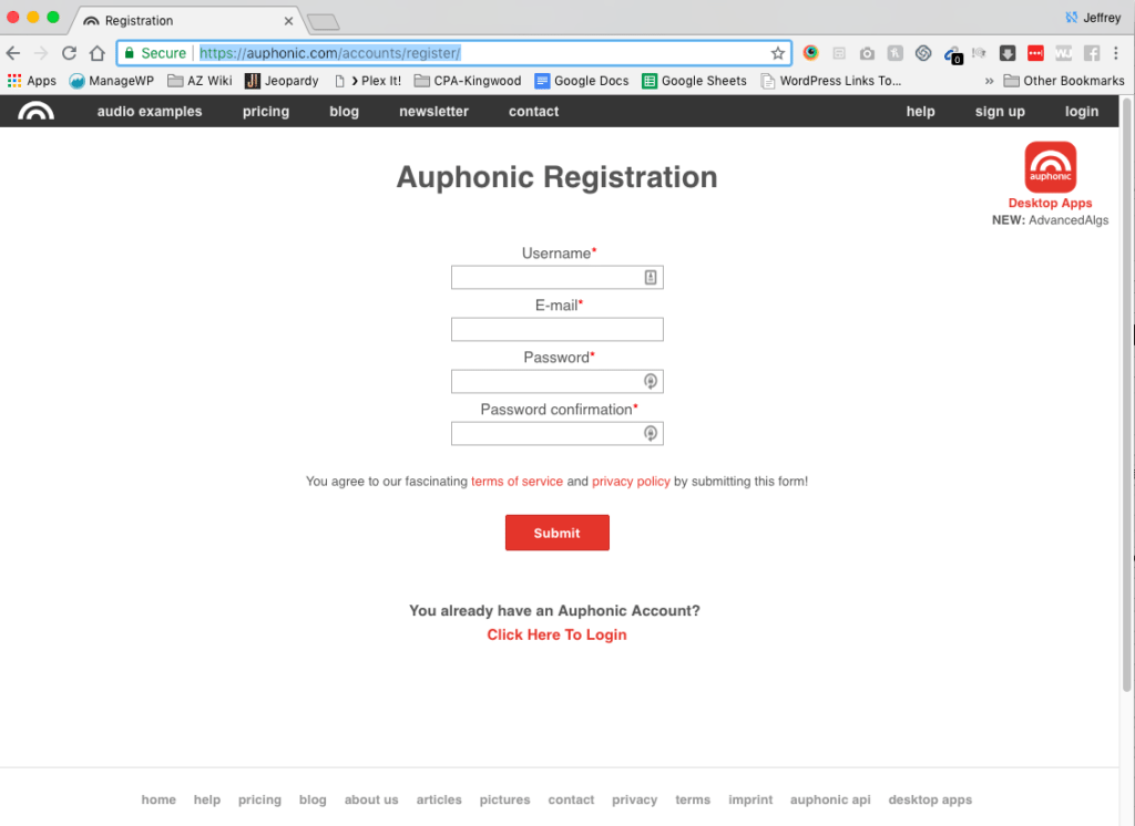 Auphonic register